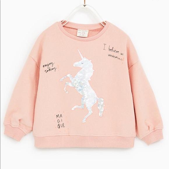 974a36b6 Zara Shirts & Tops | Baby Girl Pink Plush Unicorn Sweatshirt | Poshmark